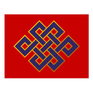 Cartão Postal Do budismo azul das karmas da mandala nó eterno