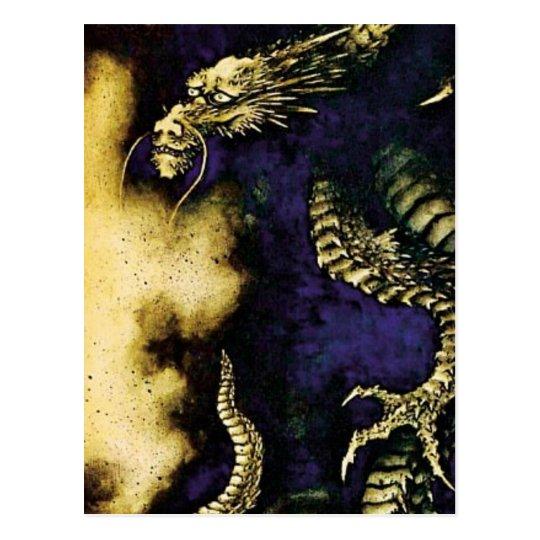 Cartão Postal Dragão em uma nuvem de chuva