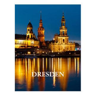 Cartão Postal Dresden na noite