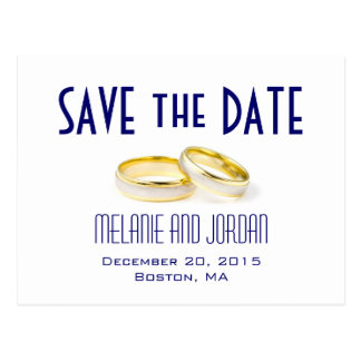Cartão Postal Economias do azul das alianças de casamento do