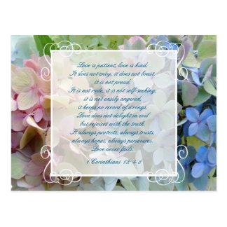 Cartão Postal Economias do casamento do Hydrangea a escritura do