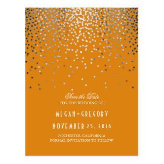 Cartão Postal Economias elegantes da laranja dos confetes de