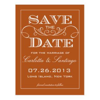 Cartão Postal Economias elegantes da laranja o anúncio da data
