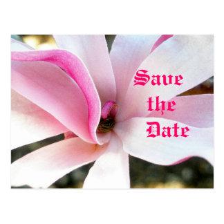 Cartão Postal Economias florais cor-de-rosa o casamento da data