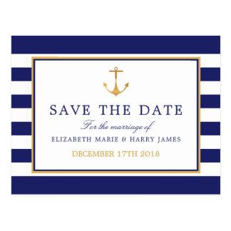 Cartão Postal Economias náuticas do casamento da âncora do ouro
