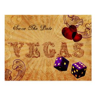 Cartão Postal economias roxas de Vegas do vintage dos dados a