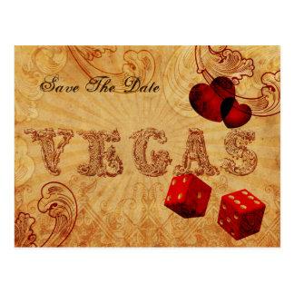 Cartão Postal economias vermelhas de Vegas do vintage dos dados