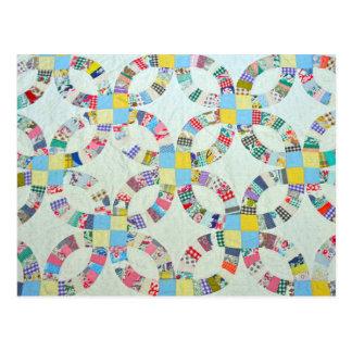 Cartão Postal Edredão de retalhos colorida