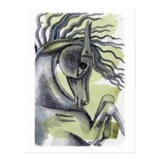 Cartão Postal Elevando a lavagem preta da aguarela do cavalo