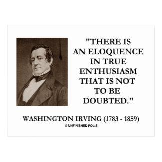 Cartão Postal Eloquência de Washington Irving no entusiasmo