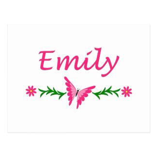 Cartão Postal Emily (borboleta cor-de-rosa)