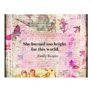 Cartão Postal Emily Brontë, citações de Wuthering Heights
