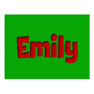 Cartão Postal Entalhe verde e vermelho de Emily
