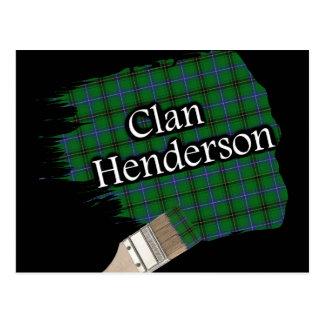 Cartão Postal Escova de pintura escocesa do Tartan de Henderson