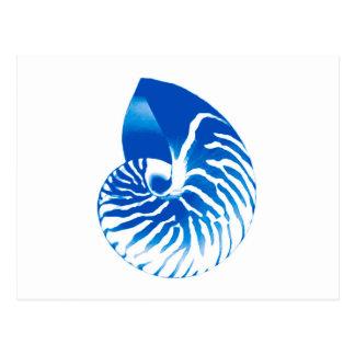 Cartão Postal Escudo do nautilus - azuis cobaltos e branco
