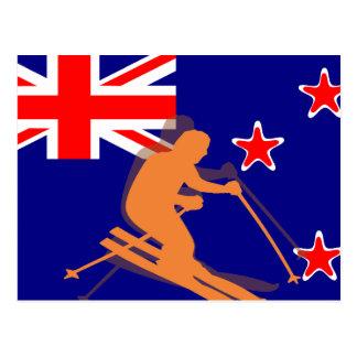 Cartão Postal Esportes de inverno do esqui da bandeira de Nova