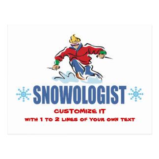 Cartão Postal Esqui personalizado da neve