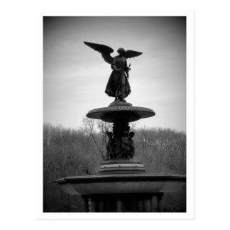 Cartão Postal estátua preto e branco do anjo