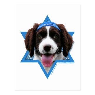 Cartão Postal Estrela de David de Hanukkah - Spaniel de Springer