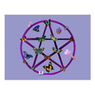 Cartão Postal Estrela e borboletas de Wiccan