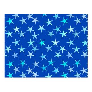 Cartão Postal Estrelas do cetim, azuis pálido no cobalto