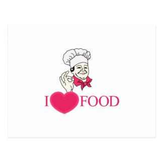 Cartão Postal Eu amo a comida