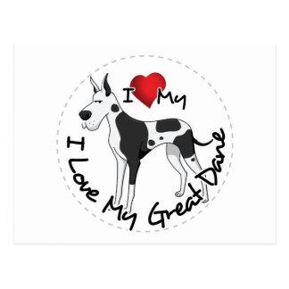 Cartão Postal Eu amo meu cão de great dane