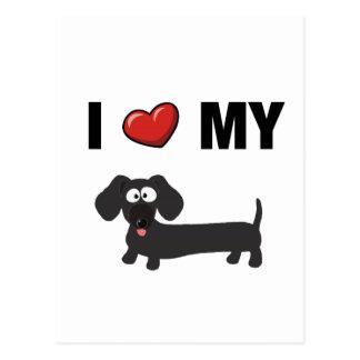 Cartão Postal Eu amo meu dachshund (o preto)