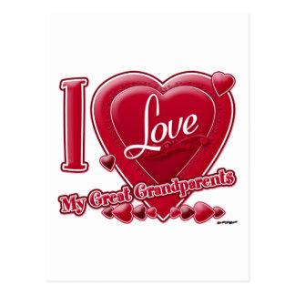 Cartão Postal Eu amo meu excelente - vermelho das avós - coração
