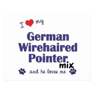 Cartão Postal Eu amo minha mistura Wirehaired alemão do ponteiro