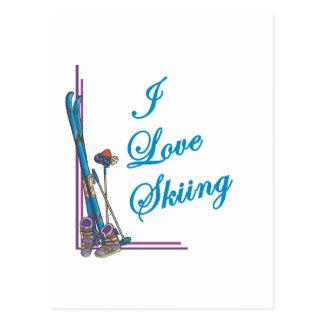 Cartão Postal Eu amo o azul de esqui