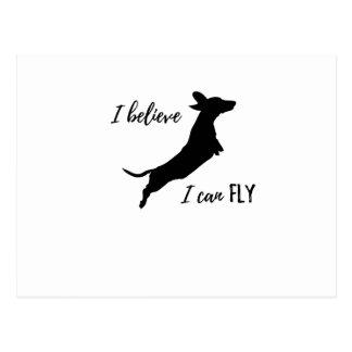 Cartão Postal Eu belive mim posso voar o dachshund