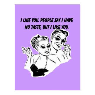 Cartão Postal Eu gosto de você - humor sarcástico da relação