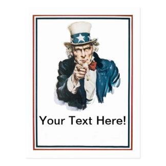 Cartão Postal Eu quero-o que o tio Sam personaliza seu texto