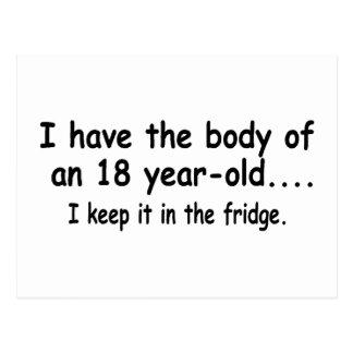 Cartão Postal Eu tenho o corpo de umas pessoas de dezoito anos