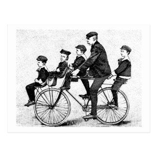 Cartão Postal Família do ciclismo - ilustração da bicicleta do