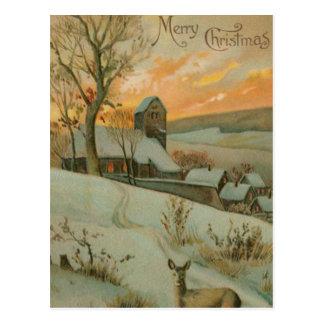 Cartão Postal Fazenda do natal vintage com cervos