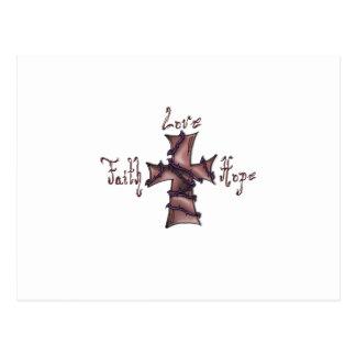 Cartão Postal Fé, amor, cruz da esperança