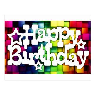 Cartão Postal Feliz Aniversário - Happy Birthday