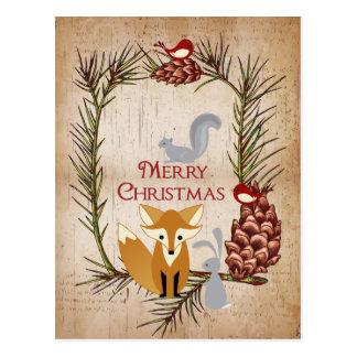 Cartão Postal Feliz Natal bonito dos animais do Fox e da