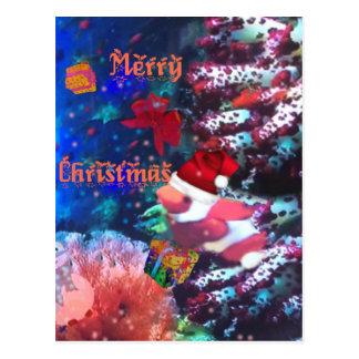 Cartão Postal Feliz Natal no aquário