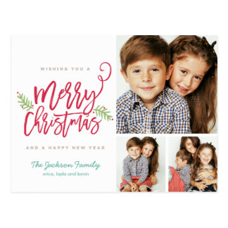 Cartão Postal Feriado moderno 3-Photo do Natal do roteiro da
