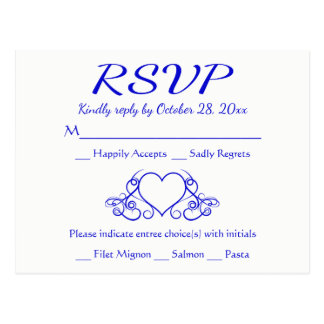 Cartão Postal Festa de casamento do coração dos azuis cobaltos
