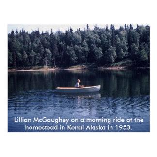 Cartão Postal Fileira da manhã de Lillian McGaughey no homestea…