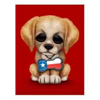 Cartão Postal Filhote de cachorro bonito com o Tag de cão da