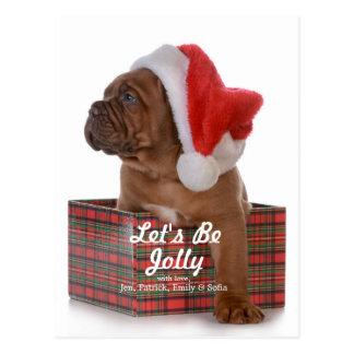 Cartão Postal Filhote de cachorro do Natal como o papai noel