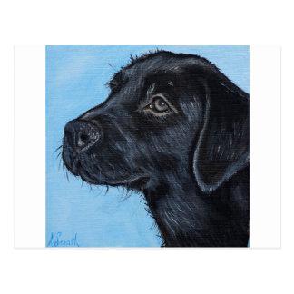 Cartão Postal Filhote de cachorro preto de Labrador