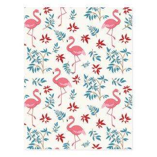 Cartão Postal Flamingo e flores