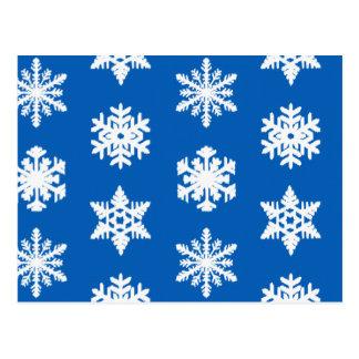 Cartão Postal Flocos de neve de Ikat - azuis cobaltos e branco