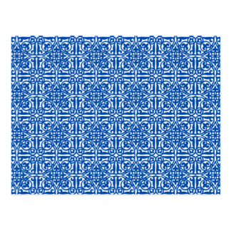 Cartão Postal Flor de lis medieval do damasco, azul cobalto